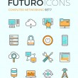 Computer networking futuro line icons — Stock Vector #72038447