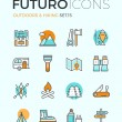 Outdoors and hiking futuro line icons — Stock Vector #72038479