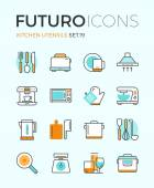Kitchen utensils futuro line icons — Stock Vector