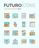 Web develop futuro line icons — Stock Vector