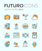 Travel and tourism futuro line icons — Stock Vector