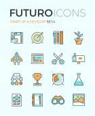 Startup develop futuro line icons — Stock Vector