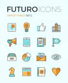 Office things futuro line icons — Stock Vector