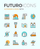 Outdoors and hiking futuro line icons — Stock Vector