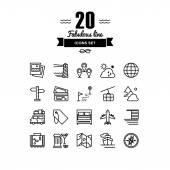 Travel and vacation line icons set — Vettoriale Stock