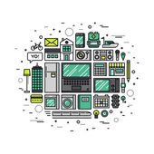 Internet of things line style illustration — Vector de stock