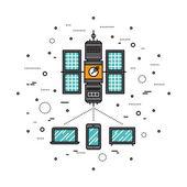 Cellular transmission line style illustration — Stock Vector