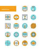 3D design elements line icons — Stock Vector