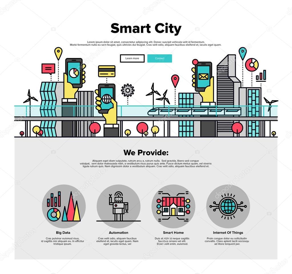 Line Art Solutions Ltd : Smart city flat web graphics — stock vector bloomua