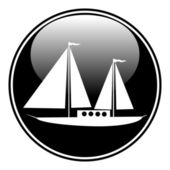 Sailing ship button — Stock Vector