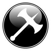 Battle axe button — Stock Vector
