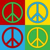Pop art peace symbol icons — Stock Vector