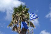 Vlajky řecka a evropské unie — Stock fotografie