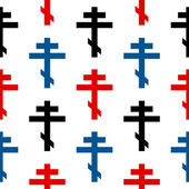 Religious orthodox cross symbol seamless pattern — Stockvector