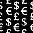 Currency symbols seamless pattern on black — Stock Vector #56071635