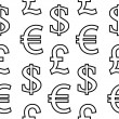 Currency symbols seamless pattern on white — Stock Vector #56071681
