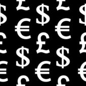 Currency symbols seamless pattern on black — Stock Vector