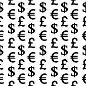 Reticolo senza giunte di simboli di valuta su bianco — Vettoriale Stock