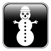 Snowman symbol button — Stock Vector