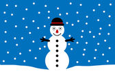 Winter landscape with snowman — Stock Vector
