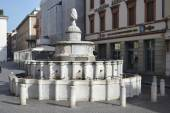 Old medieval fountain on Piazza Cavour — Foto de Stock