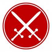 Crossed swords button — Stock Vector