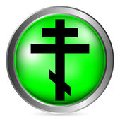 Religious orthodox cross button — Stock Vector