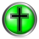 Religious cross button — Stock Vector