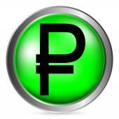 Russian ruble symbol button — Stock Vector