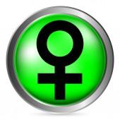 Gender female symbol button — Stock Vector