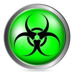 Biohazard sign button — Stock Vector #60028287