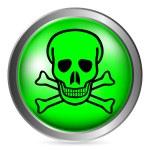 Skull and bones danger sign button — Stock Vector #60028291