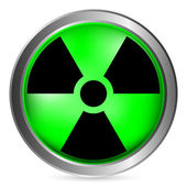 Radiation sign button — Stock Vector