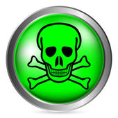 Skull and bones danger sign button — Stock Vector