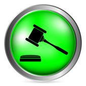 Judge gavel button — Stock Vector