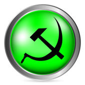 Hammer and sickle sign button — Stock Vector