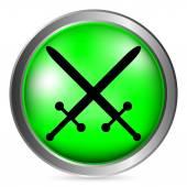 Botón de espadas cruzadas — Vector de stock