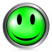 Smile face circle button — Stock Vector