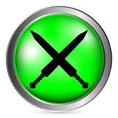 Crossed gladius swords button — Stock Vector