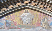 Mosaic on facade of orthodox church Spas na Krovi — Stock Photo