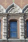 Window of orthodox cathedral Spas na Krovi — Stock Photo