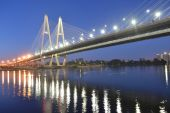 Cable-stayed bridge at night — Stock Photo