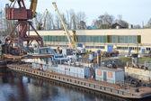 Shipyard on the Neva river — Stock Photo