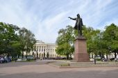 Arts Square with statue of Alexander Pushkin. — Stock Photo