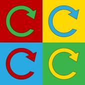 Pop art repeat simbol icons. — Stock Vector