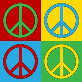 Pop art peace symbol icons. — Stock Vector