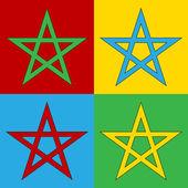 Pop art pentagram symbol icons. — Stock Vector