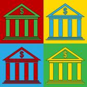 Pop art bank symbol icons. — Stock Vector