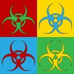 Pop art biohazard sign symbol icons. — Stock Vector #67657893