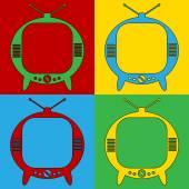Pop art TV symbol icons. — Stock Vector